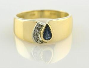 Saphir Diamantring 585/000 14 K Gelbgold 4 Diamanten zus. 0,03 ct