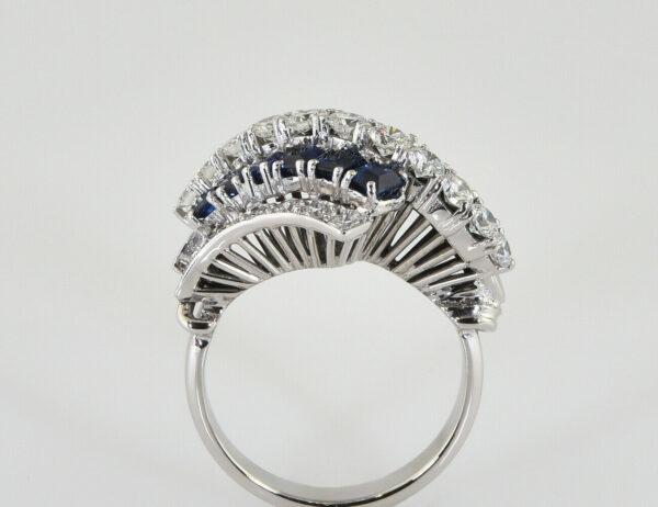 Saphir Diamantring 585/000 14 K Weißgold 25 Diamanten zus. 1,10 ct