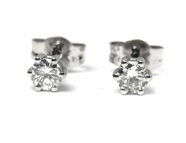 Solitär Brillant Ohrstecker Ohrringe 585 14K Weißgold, 2 Diamanten zus. 0,358 ct