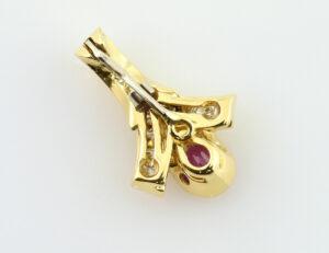 Anhänger Rubin, 750/000 18 K Gelbgold 14 Diamanten zus. 0,32 ct