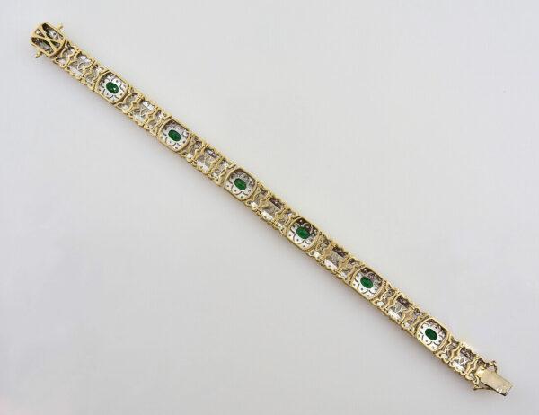 Armband Smaragd 585/000 14 K Gelbgold 154 Diamanten zus. 1,50 ct, 18,50 cm lang