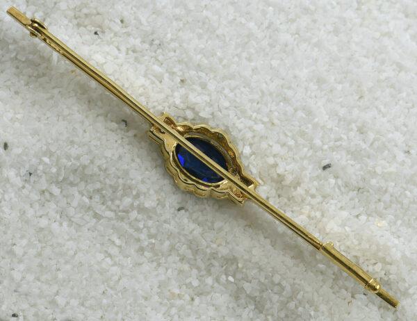 Brosche 585 14 K Gelbgold, Saphir, 4 Diamanten zus. 0,02 ct