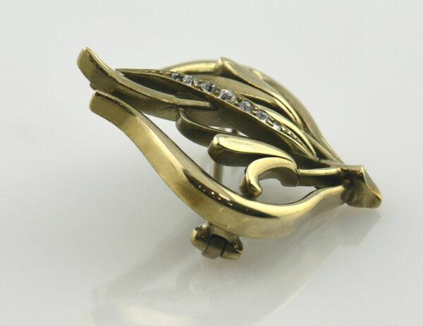 Brosche 585/000 14 K Gelbgold 6 Diamanten zus. 0,10 ct