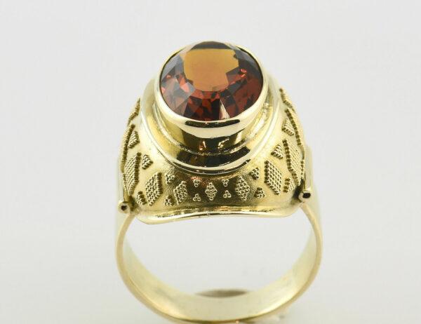 Citrin Ring mit Granulationen in 585 14K Gelbgold