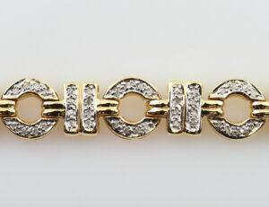 Diamant Armband 585/000 14 K Gelbgold 176 Diamanten zus. 1,75 ct, 18 cm lang