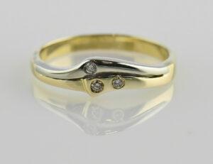 Diamant Ring 585/000 14 K Gelbgold 3 Brillanten zus. 0,05 ct