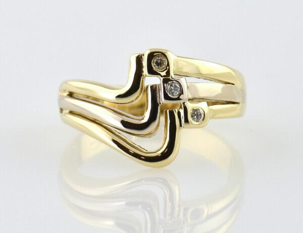 Diamant Ring 585/000 14 K Gelbgold 3 Diamanten zus. 0,06 ct