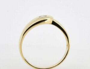 Diamant Ring 750/000 18 K Gelbgold 1 Brillant 0,13 ct