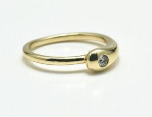 Diamant Solitär Ring 585 14 K Gelbgold Brillant 0,07 ct
