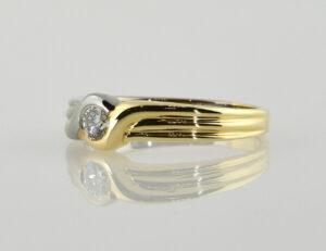 Diamant Solitär Ring 585/000 14 K Gelb-Weißgold Brillant 0,20 ct