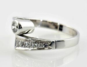 Diamantring 585/000 14 K Weißgold 5 Diamanten zus. 0,27 ct
