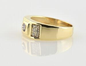 Herrenring 585/000 14 K Gelbgold Zirkonia