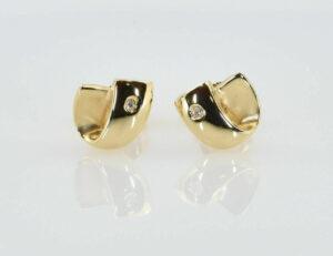 Ohrstecker 585/000 14 K Gelbgold 2 Diamanten zus. 0,02 ct