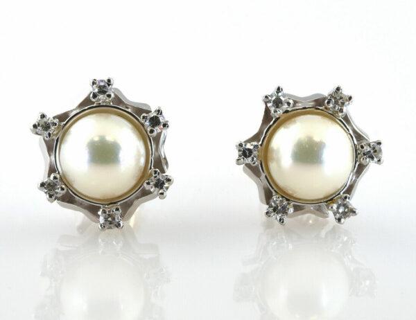 Ohrstecker 585/000 14 K Weißgold, Zuchtperle 12 Diamanten zus. 0,18 ct