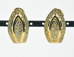 Ohrstecker 750 18 K Gelbgold, 72 Diamanten zus. 1,10 ct