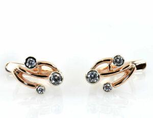 Ohrstecker Diamant 585/000 14 K Rotgold 6 Brillanten zus. 0,30 ct
