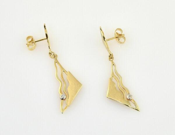 Ohrstecker/Hänger 333/000 8 K Gelbgold, 2 Diamanten zus. 0,01 ct