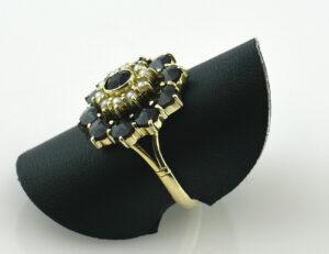 Perlen, Granat Ring 585/000 14 K Gelbgold