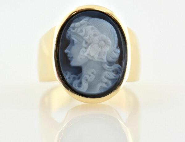 Ring 585/000 14 K Gelbgold Onyx Kamee Gemme