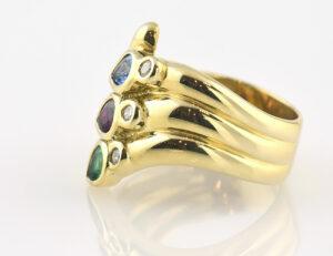 Ring Dia Saphir Rubin Smaragd 585/000 14 K Gelbgold 3 Brillanten zus. 0,09 ct