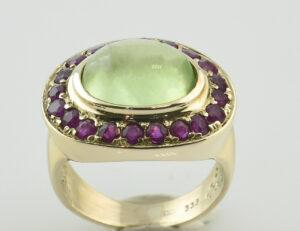 Ring Fluorit Rubin 333 8 K Gelbgold