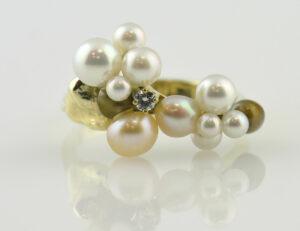 Ring Perlen, Diamant 585 14 K Gelbgold, Brillant 0,05 ct