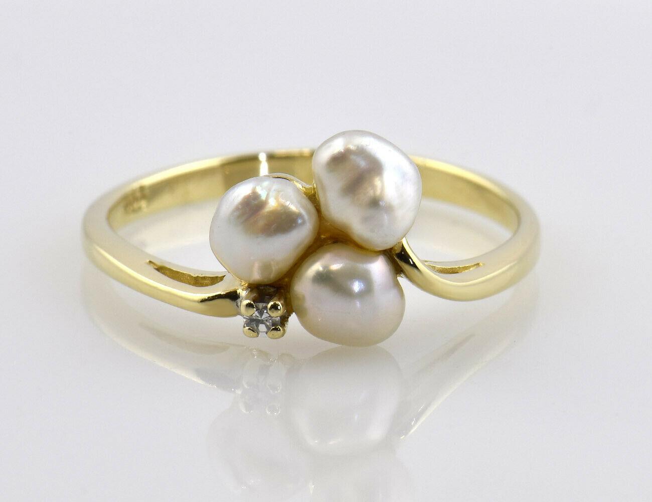 Ring Zuchtperle 585/000 14 K Gelbgold, 1 Diamant 0,02 ct