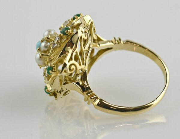 Ring Zuchtperle und Türkis 750 18 K Gelbgold