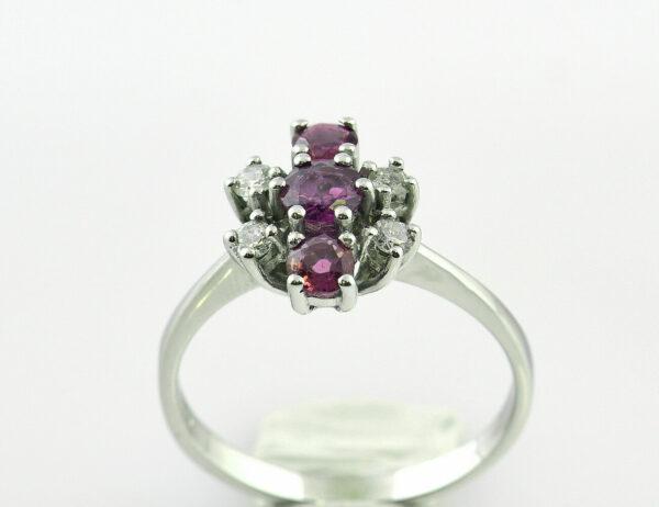 Rubin Diamantring 585 14 K Weißgold 4 Brillanten zus. 0,16 ct