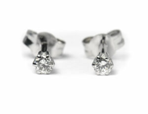 Solitär Brillant Ohrstecker Ohrringe 585 14K Weißgold, 2 Diamanten zus. 0,176 ct