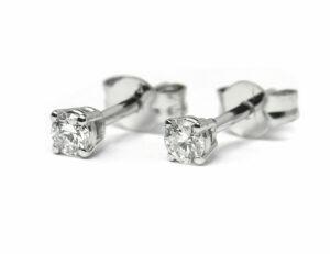 Solitär Brillant Ohrstecker Ohrringe 585 14K Weißgold, 2 Diamanten zus. 0,227 ct