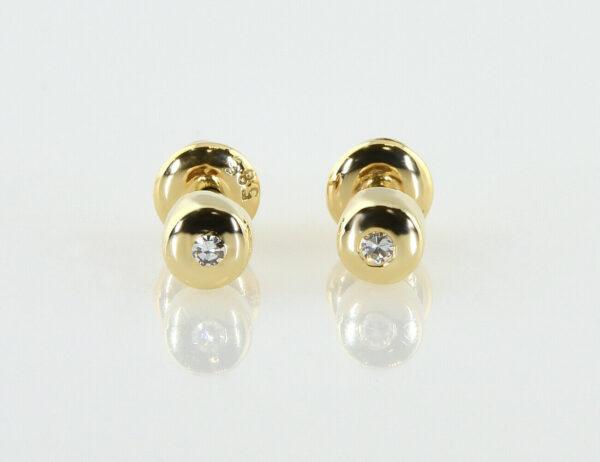 Solitär Diamant Ohrstecker 585/000 14 K Gelbgold, 2 Diamanten zus. 0,05 ct