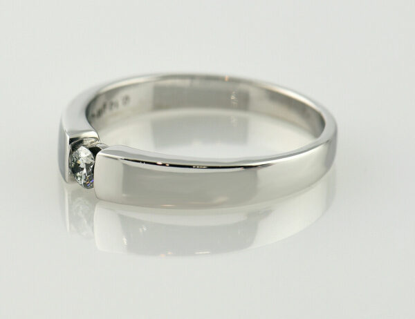 Solitär Diamantring 585 14 K Weißgold 0,10 ct