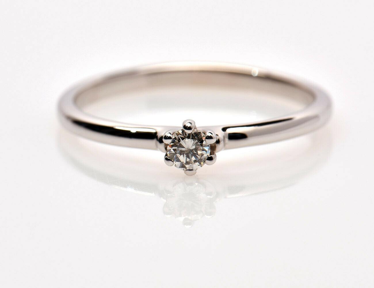 Solitär Diamantring 585/000 14 K Weißgold Brillant 0,13 ct