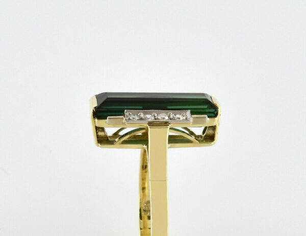 Turmalin Diamantring 585/000 14 K Gelbgold 8 Diamant zus. 0,12 ct