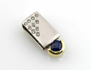 Anhänger Saphir 585/000 14 K Gelb-Weißgold 10 Brillanten zus. 0,15 ct