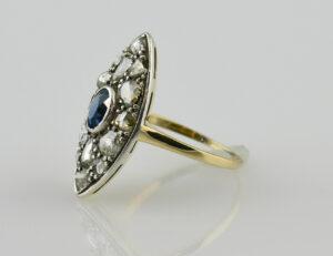 Art Deco Ring 585/000 14 K Gelbgold Saphir, Diamantrosen ca. 1,50 ct