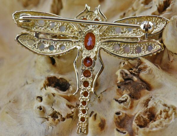 Brosche Libelle 375 9 K Gelbgold Opal Granat