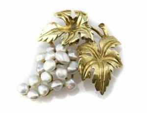 Brosche Perle 585 14 K Gelbgold