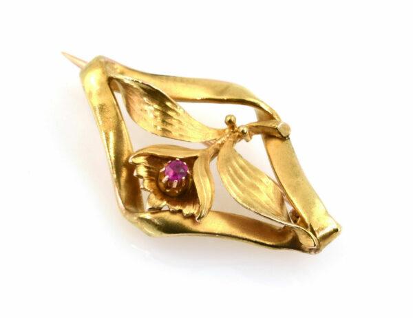 Brosche Rubin 585/000 14 K Gelbgold