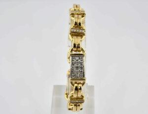Diamant Armband 750/000 18 K Gelbgold 55 Brillanten zus. 4,12 ct, 22 cm lang