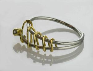 Diamant Ring 950/000 Platin und 750/000 Gelbgold Brillant 0,03 ct