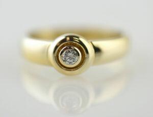 Diamant Solitär Ring 585/000 14 K Gelbgold Brillant 0,10 ct