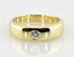 Diamant Solitär Ring 585/000 14 K Gelbgold Brillant 0,14 ct