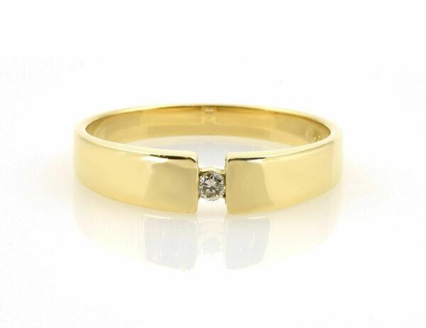 Diamant Solitär Ring 750/000 18 K Gelbgold Brillant 0,04 ct
