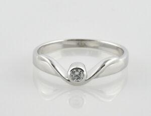 Diamantring 585/000 14 K Weißgold 1 Brillant 0,07 ct