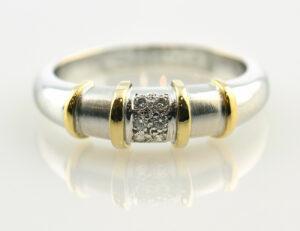 Diamantring 750 18 K Weißgold 6 Brillanten zus. 0,08 ct