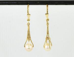 Ohrringe Hänger Zuchtperle 585/000 14 K Gelbgold
