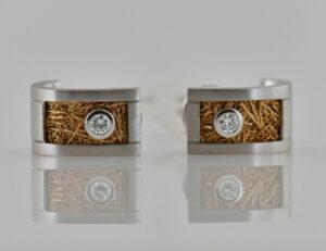 Ohrstecker 750 18 K Weiß/Gelbgold, 2 Diamanten zus. 0,20 ct