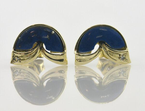 Ohrstecker Lapis Lazuli 333 8 K Gelbgold 2 Diamanten zus. 0,02 ct